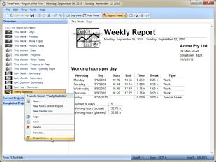 The report view creates printable reports and lets you organize them as favorites on the left hand side. The possibility to create favorite reports makes it very easy to manage the different types of reports you will certainly need.
